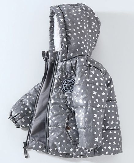 Hooded Quilted Jacket Star Print