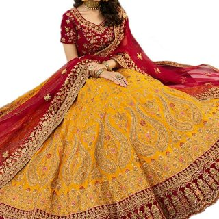 Women's Embroidered Semi-Stitched Lehenga Choli