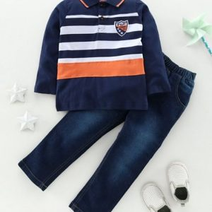 Sleeves Striped T-Shirt & Jeans
