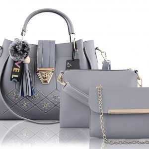 Le Platinum PU Leather Latest Ladies Handbag With Combo 3pcs Purse Set (Grey)