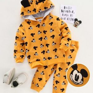 Full Sleeves Hooded Jacket & Lounge Pant Mickey Mouse Print