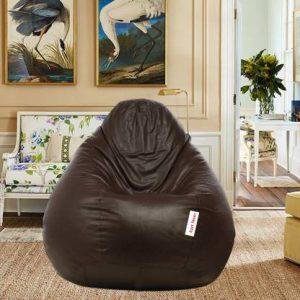 Brown Bean Bag Chair XXXL Classic Filled Bean Bag with Beans
